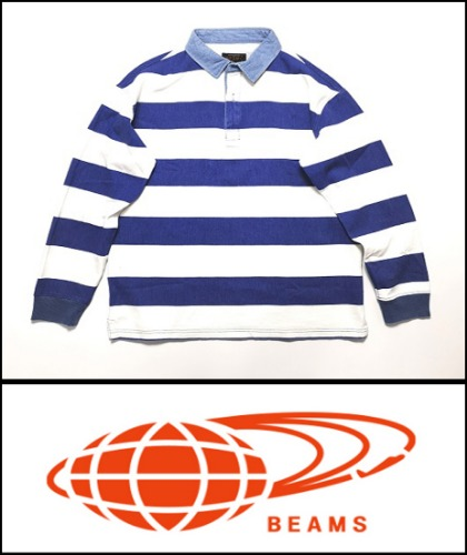 2020 S/S BEAMS JAPAN  INDIGO STRIPE WASH  RUGBY POLO [International]