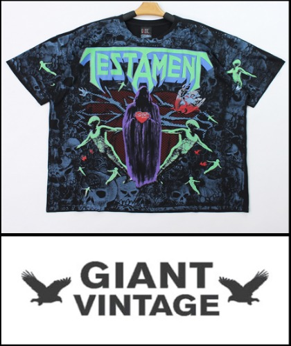 2020 S/S GIANT U.S.A 1991 VINTAGE - TESTAMENT- SEEN BETWEEN THE LINES- HEAVY COTTON OVER FIT GLOW  TSHIRT [MADE SHOP H.K]