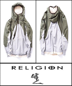 2019 [START] RELIGION CLOTHING VINTAGE BLOCK SEMI OVER JACKET HOODY  [International]